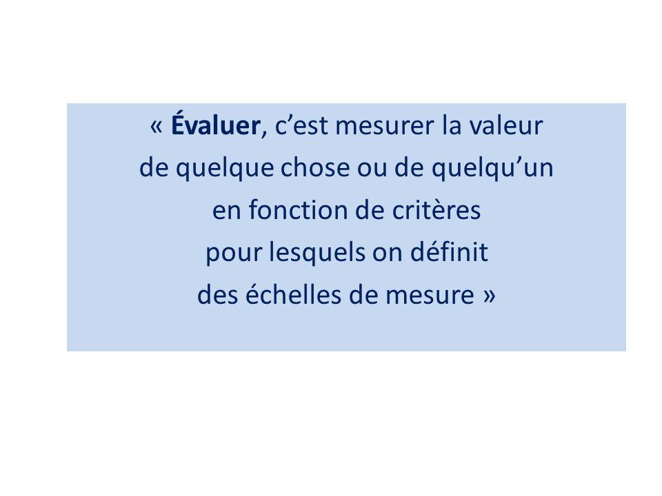 « Évaluer, c'est mesurer la valeur de quelque chose ou de quelqu'un en fonction de critères pour lesquels on définit des échelles de mesure »