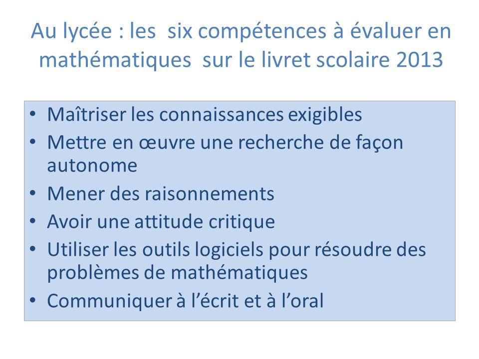Au lycée : les six compétences à évaluer en mathématiques sur le livret scolaire 2013