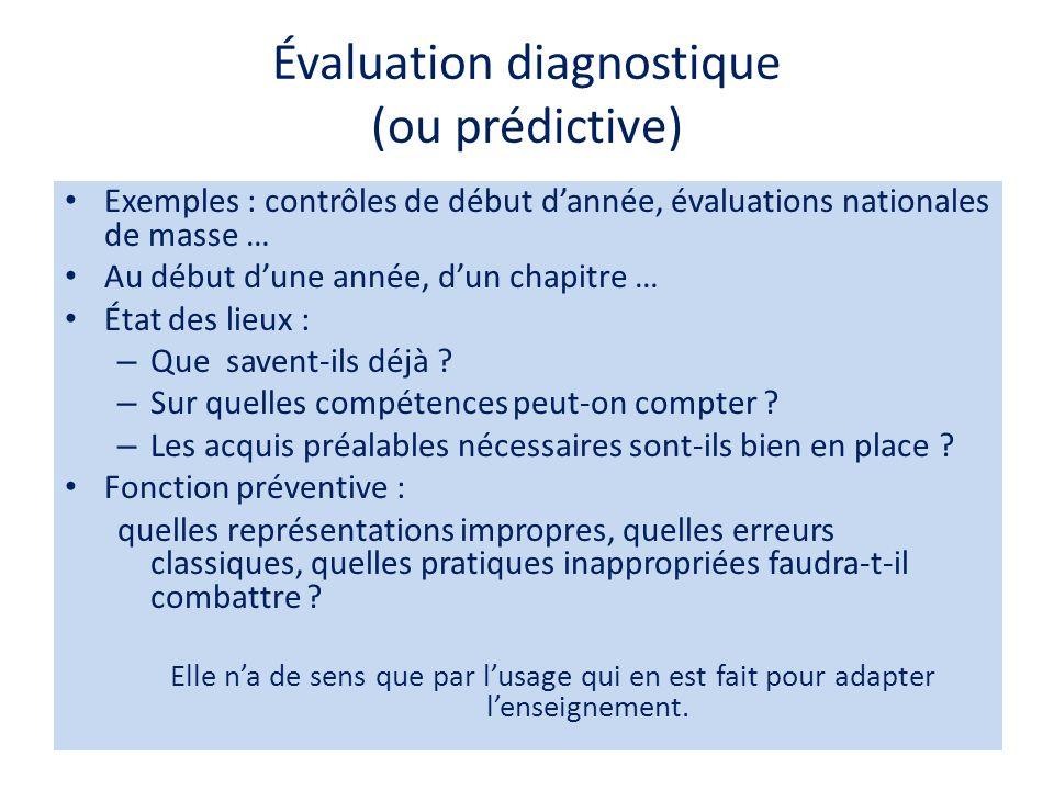 Évaluation diagnostique (ou prédictive)