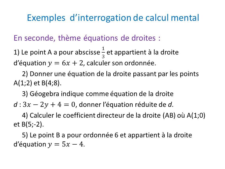 Exemples d'interrogation de calcul mental