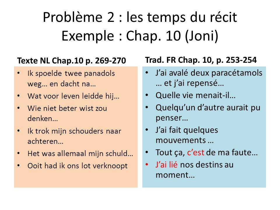 Problème 2 : les temps du récit Exemple : Chap. 10 (Joni)