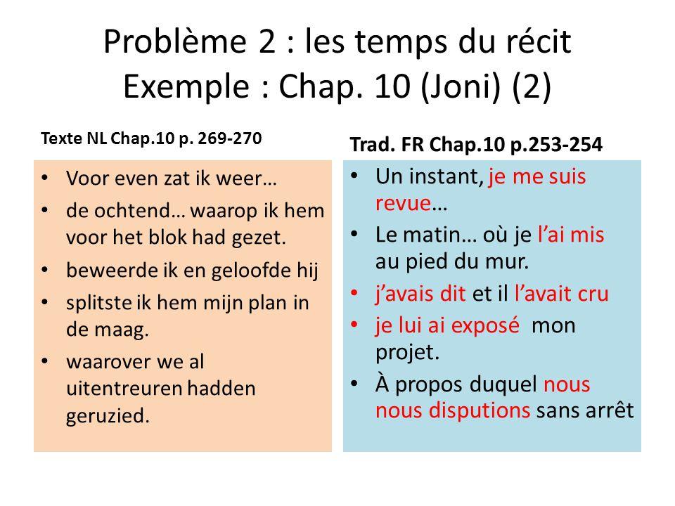 Problème 2 : les temps du récit Exemple : Chap. 10 (Joni) (2)