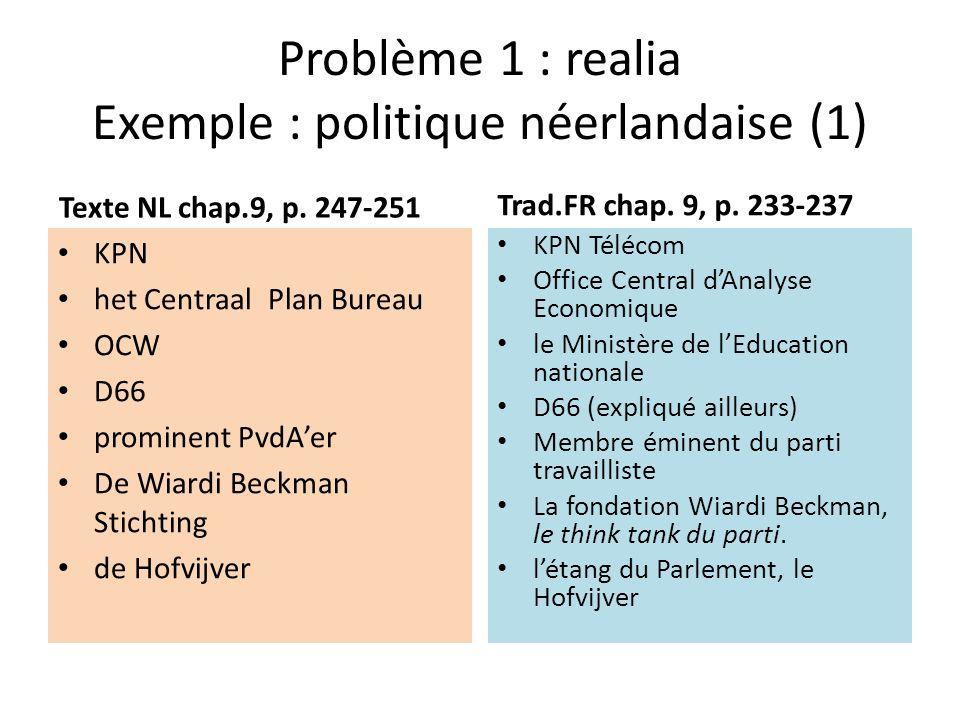 Problème 1 : realia Exemple : politique néerlandaise (1)