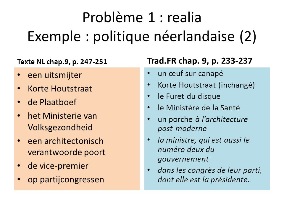 Problème 1 : realia Exemple : politique néerlandaise (2)
