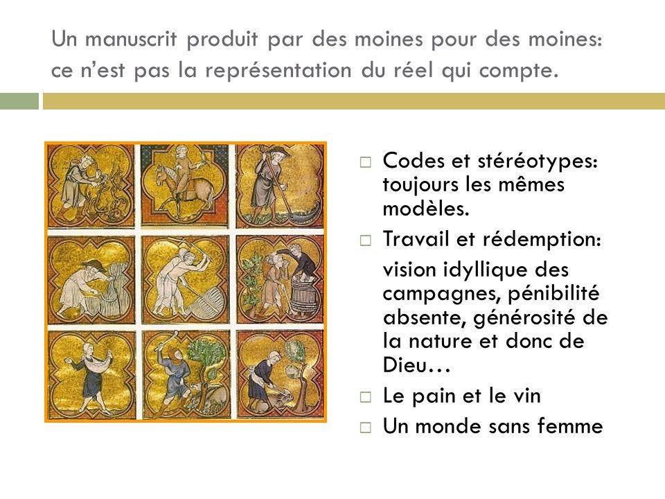 Un manuscrit produit par des moines pour des moines: ce n'est pas la représentation du réel qui compte.