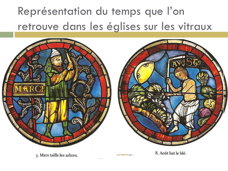 Représentation du temps que l'on retrouve dans les églises sur les vitraux
