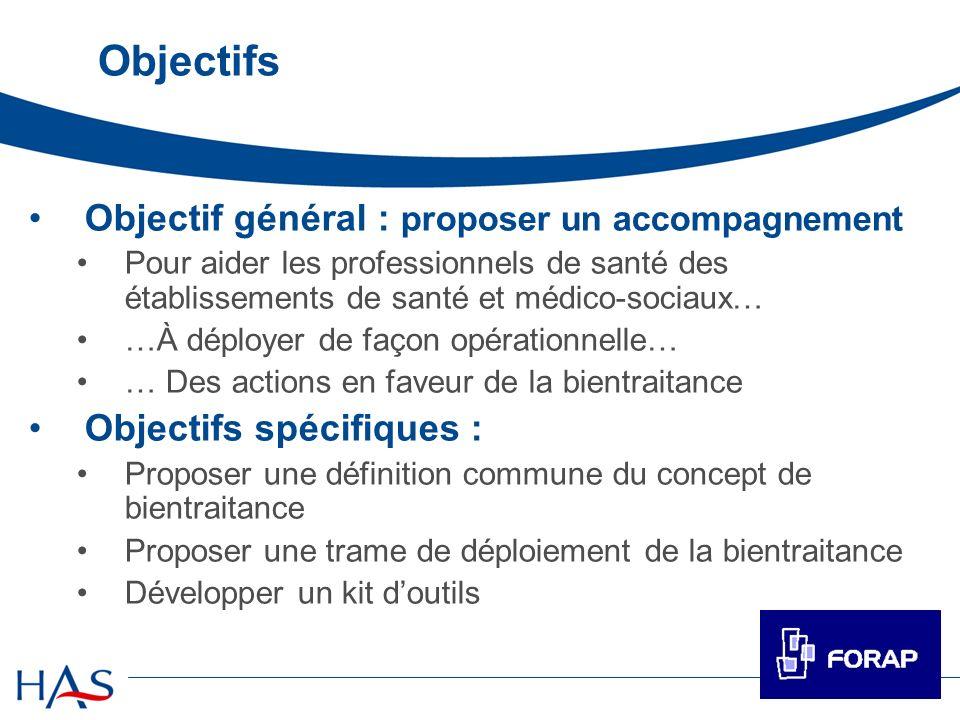 Objectifs Objectif général : proposer un accompagnement