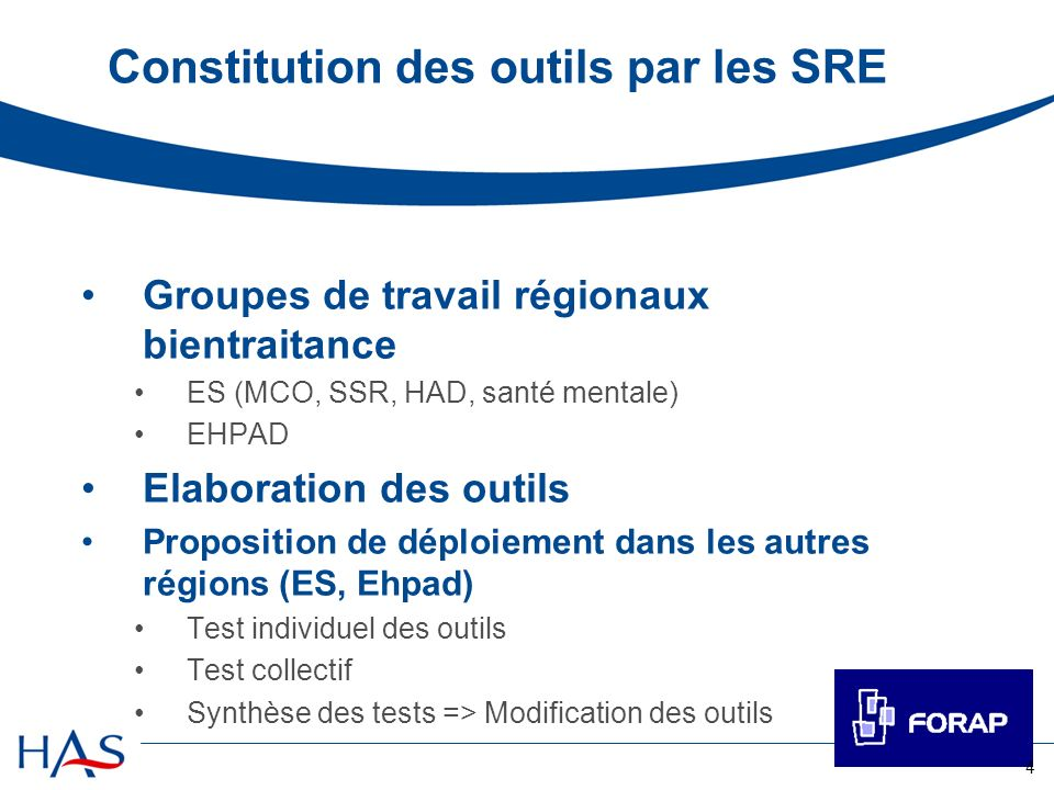 Constitution des outils par les SRE