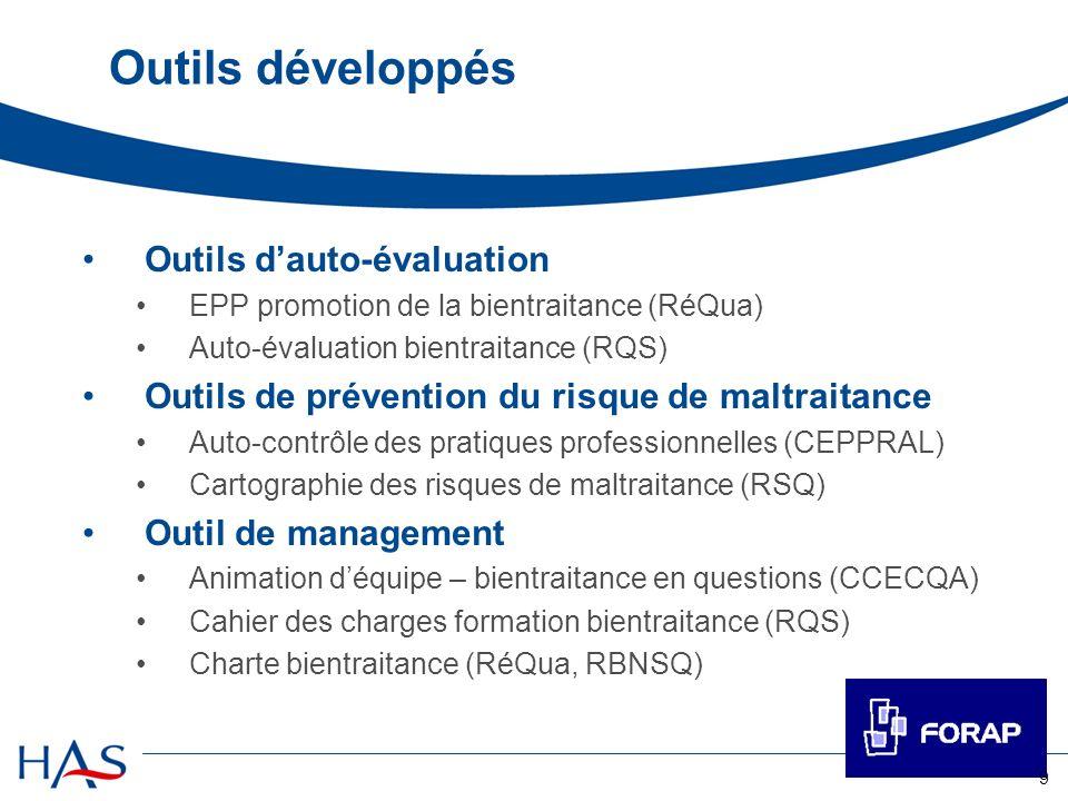 Outils développés Outils d'auto-évaluation