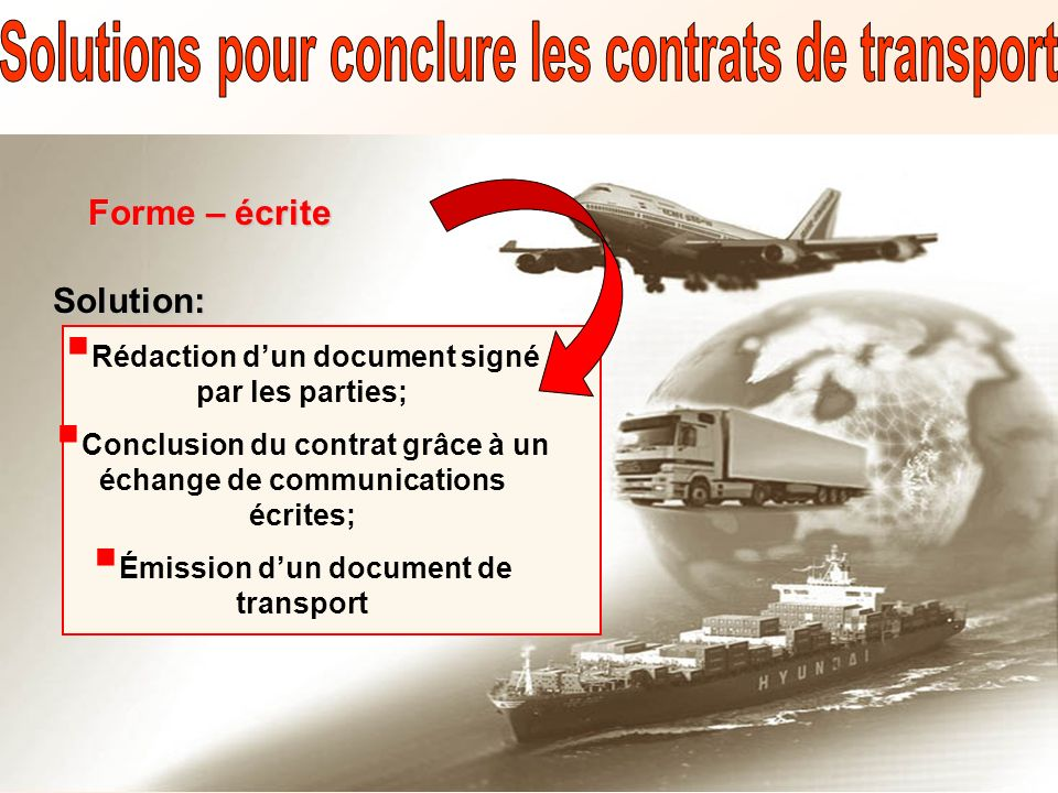 Solutions pour conclure les contrats de transport