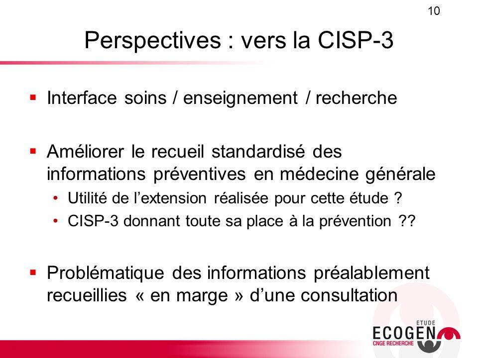 Perspectives : vers la CISP-3