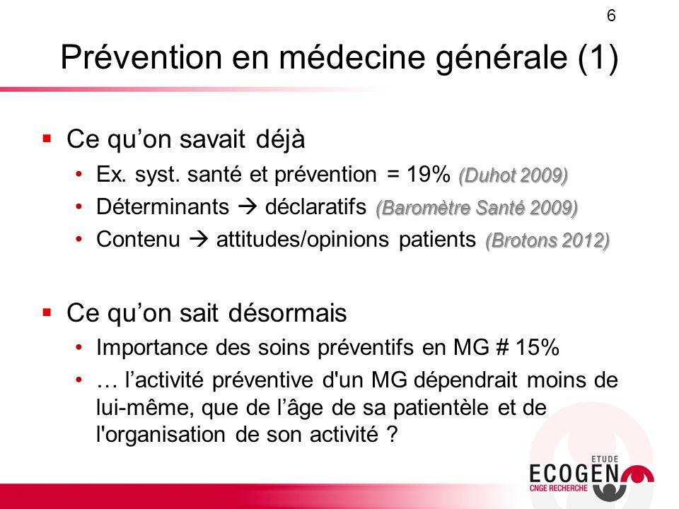 Prévention en médecine générale (1)