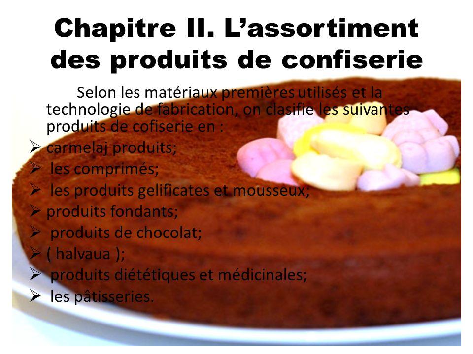 Chapitre II. L'assortiment des produits de confiserie