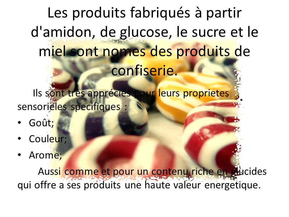 Les produits fabriqués à partir d amidon, de glucose, le sucre et le miel sont nomes des produits de confiserie.