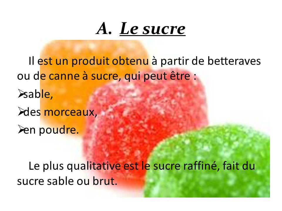 Le sucre Il est un produit obtenu à partir de betteraves ou de canne à sucre, qui peut être : sable,