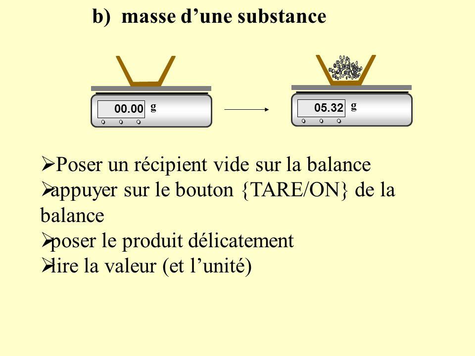 b) masse d'une substance