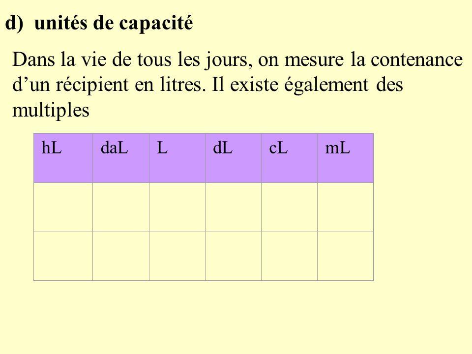 d) unités de capacité Dans la vie de tous les jours, on mesure la contenance d'un récipient en litres. Il existe également des multiples.