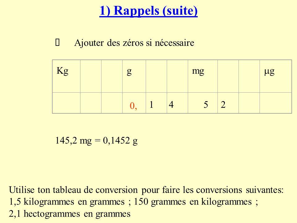 1) Rappels (suite) Ø Placer le dernier chiffre de la partie entière du nombre à convertir dans cette colonne.