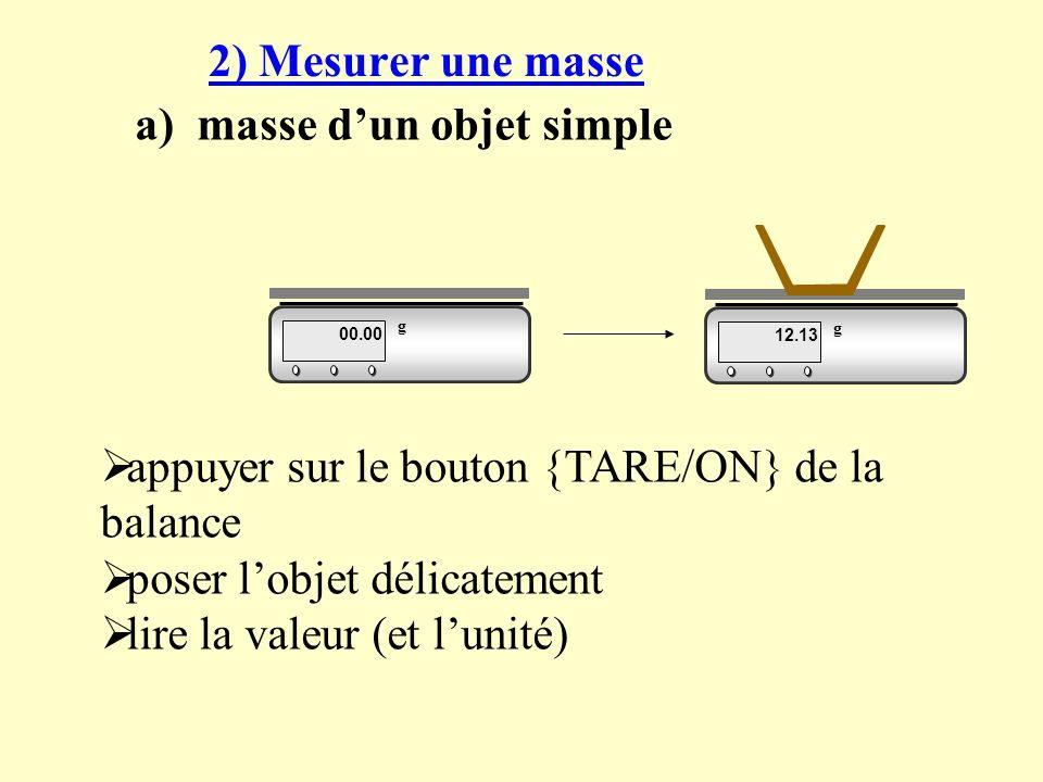 a) masse d'un objet simple