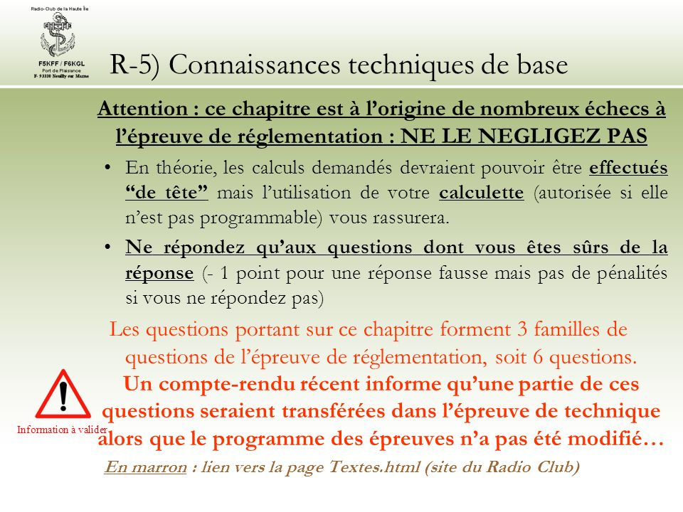 R-5) Connaissances techniques de base