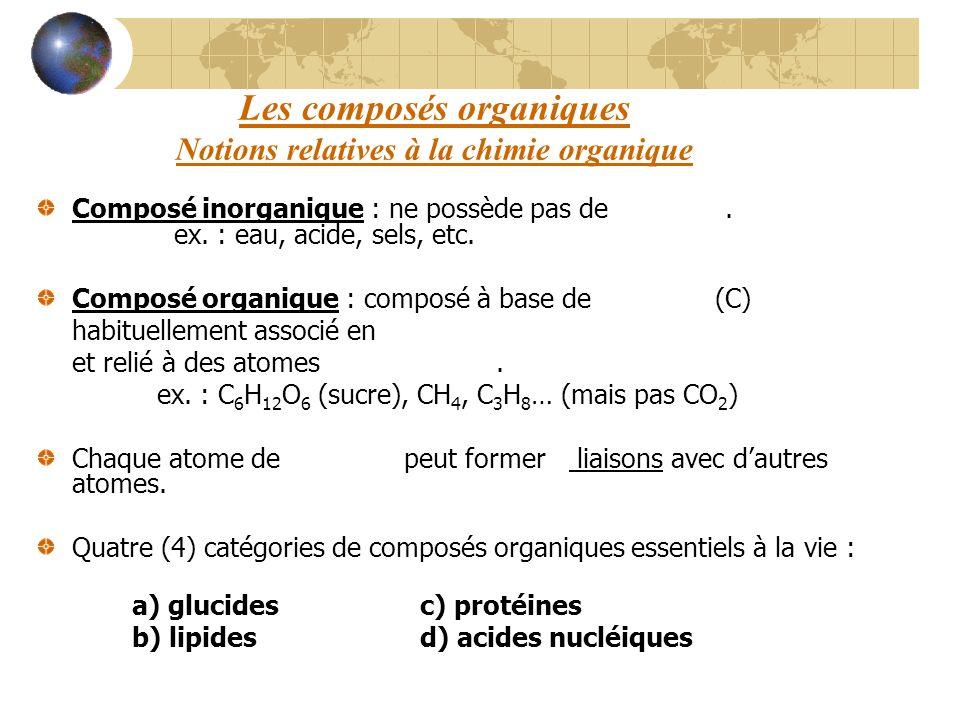 Les composés organiques Notions relatives à la chimie organique