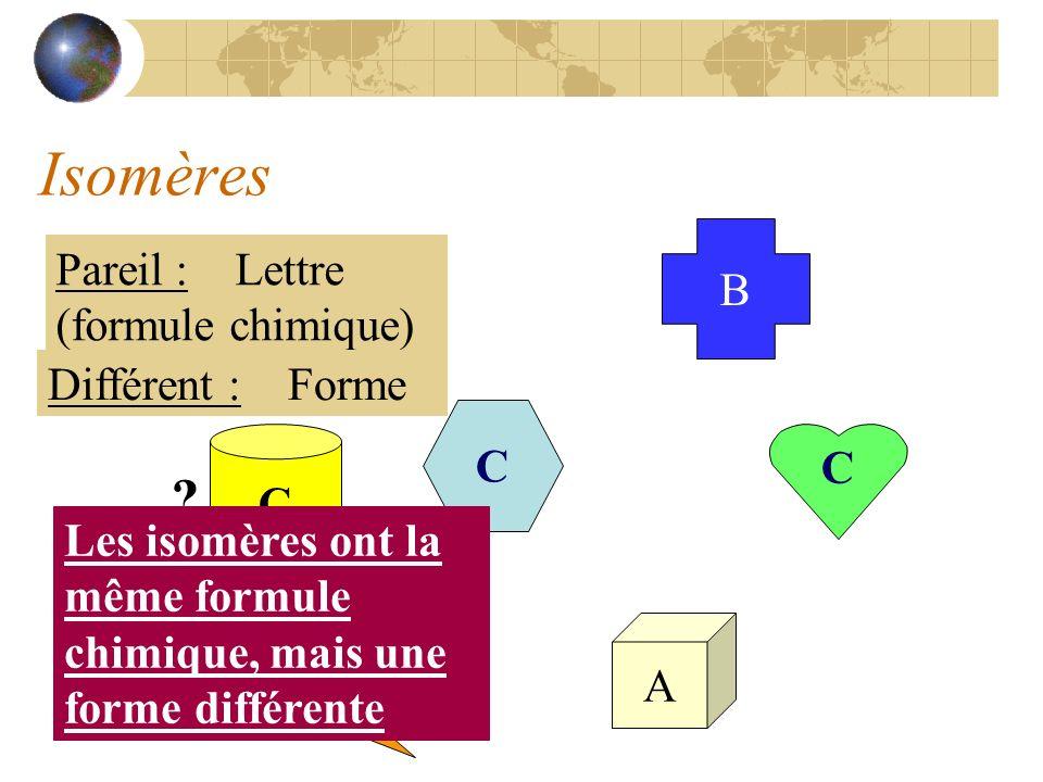 Isomères Pareil : Lettre (formule chimique) B A Différent : Forme C
