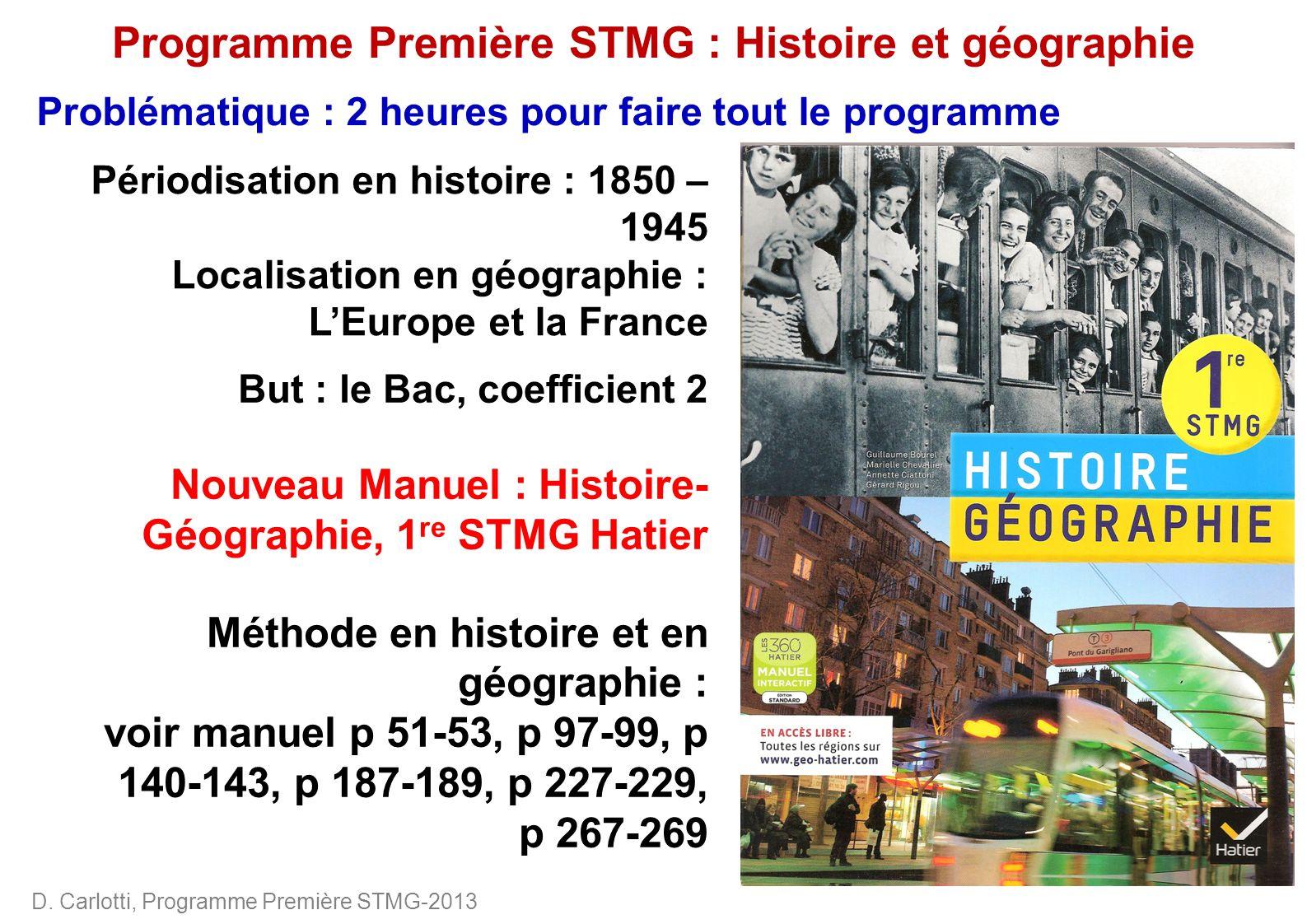 Programme Première STMG : Histoire et géographie