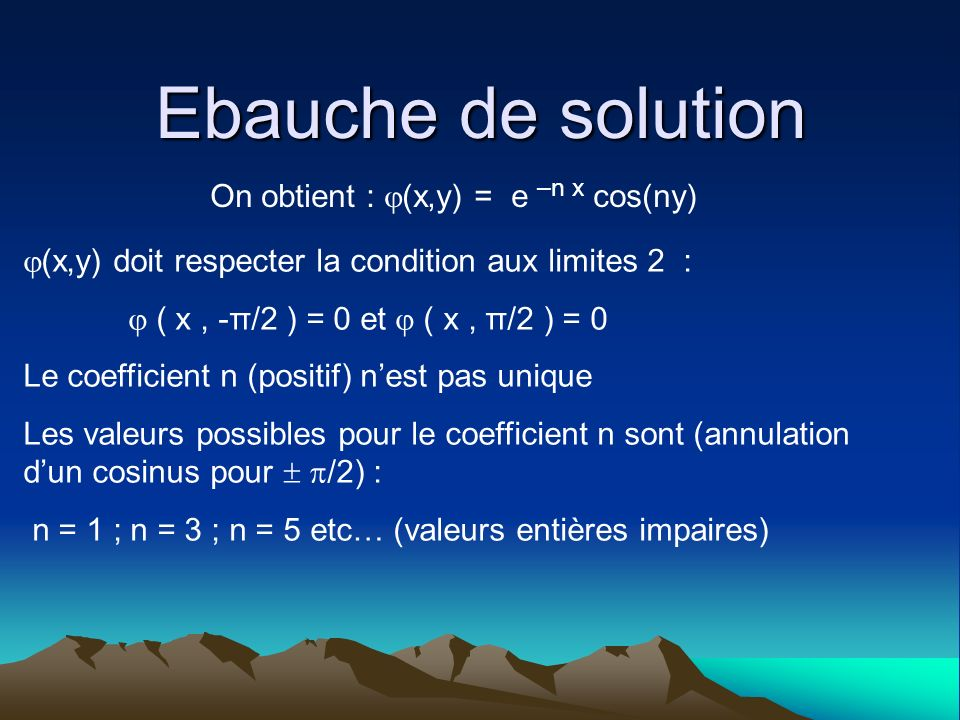 Ebauche de solution On obtient : (x,y) = e –n x cos(ny)