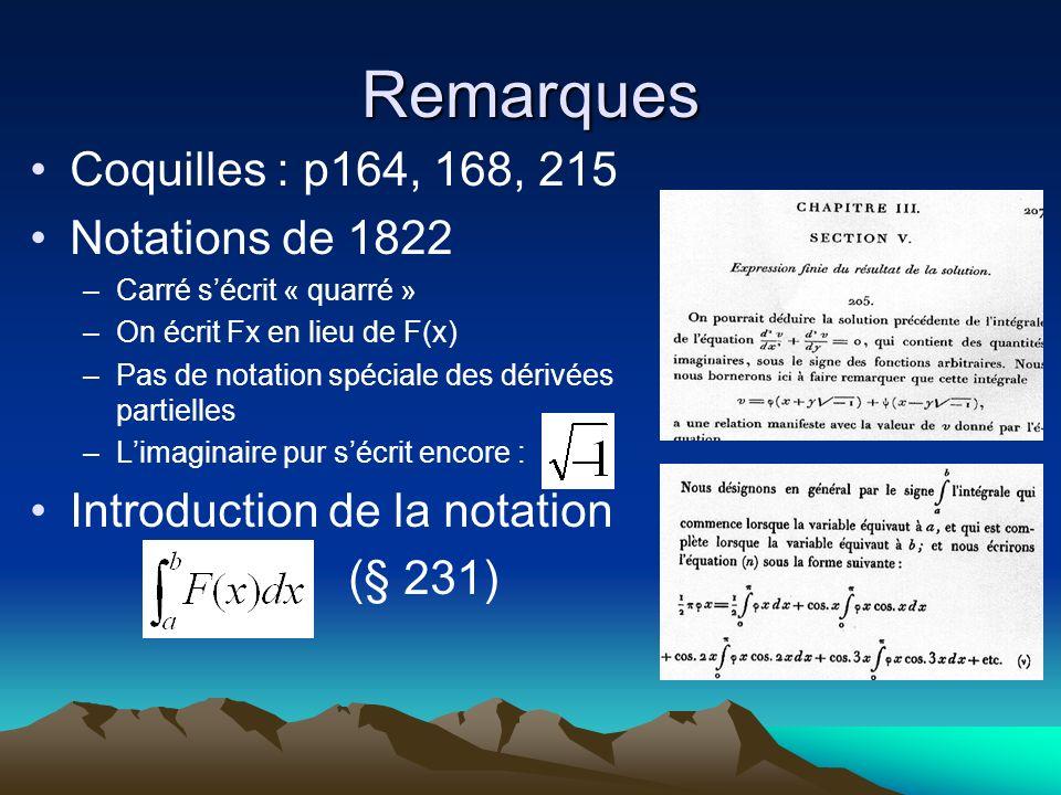 Remarques Coquilles : p164, 168, 215 Notations de 1822