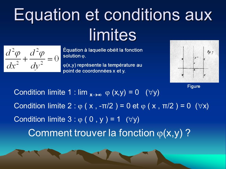 Equation et conditions aux limites