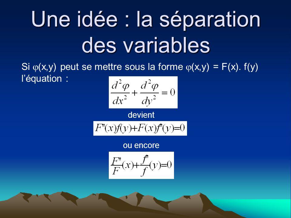 Une idée : la séparation des variables