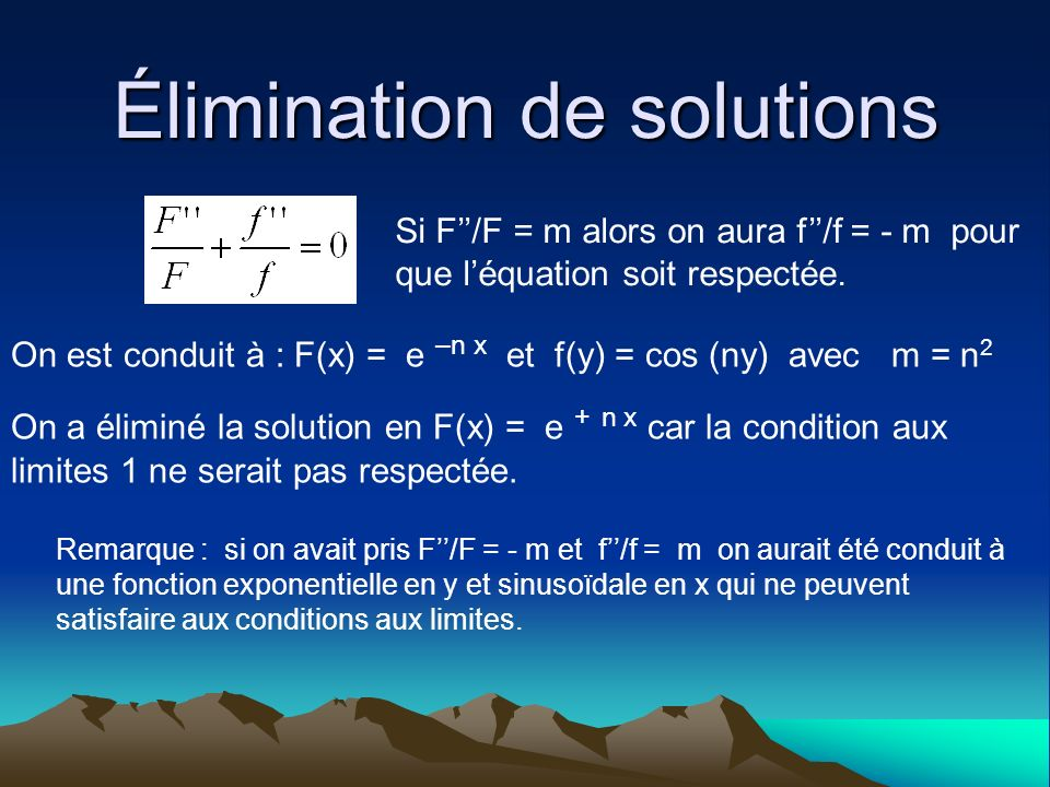 Élimination de solutions