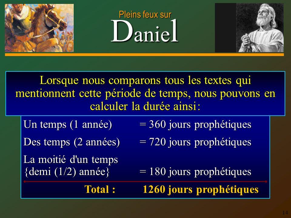 Lorsque nous comparons tous les textes qui mentionnent cette période de temps, nous pouvons en calculer la durée ainsi :