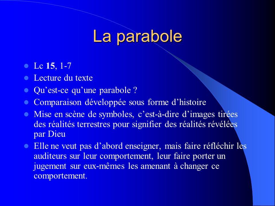 La parabole Lc 15, 1-7 Lecture du texte Qu'est-ce qu'une parabole
