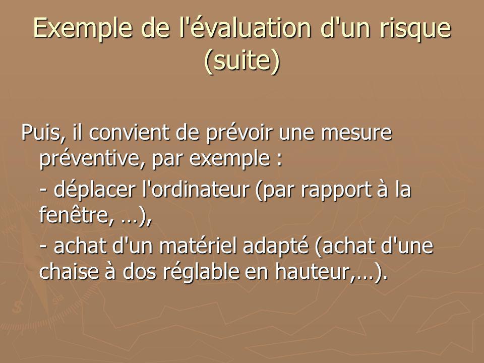 Exemple de l évaluation d un risque (suite)