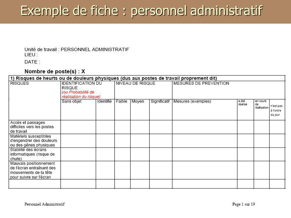 Exemple de fiche : personnel administratif