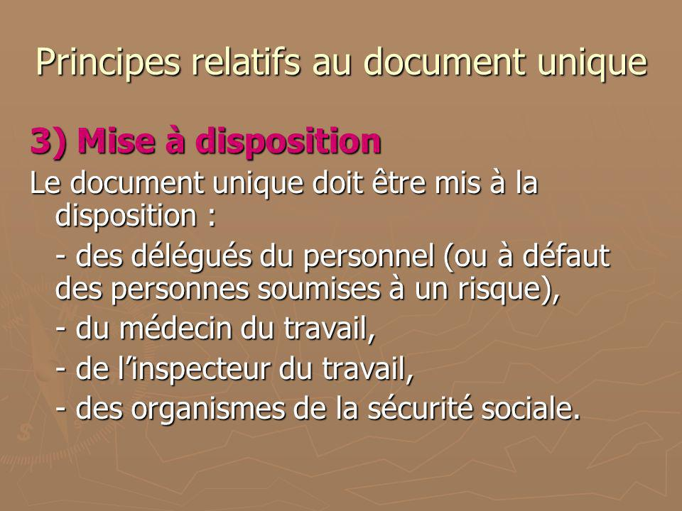 Principes relatifs au document unique