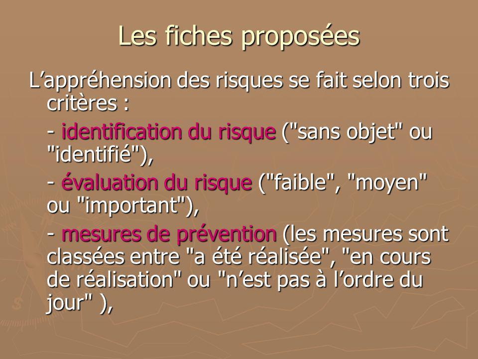 Les fiches proposées L'appréhension des risques se fait selon trois critères : - identification du risque ( sans objet ou identifié ),