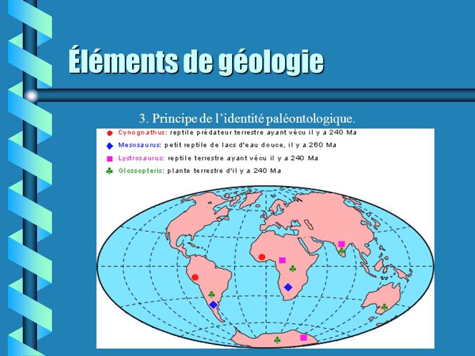Éléments de géologie 3. Principe de l'identité paléontologique.