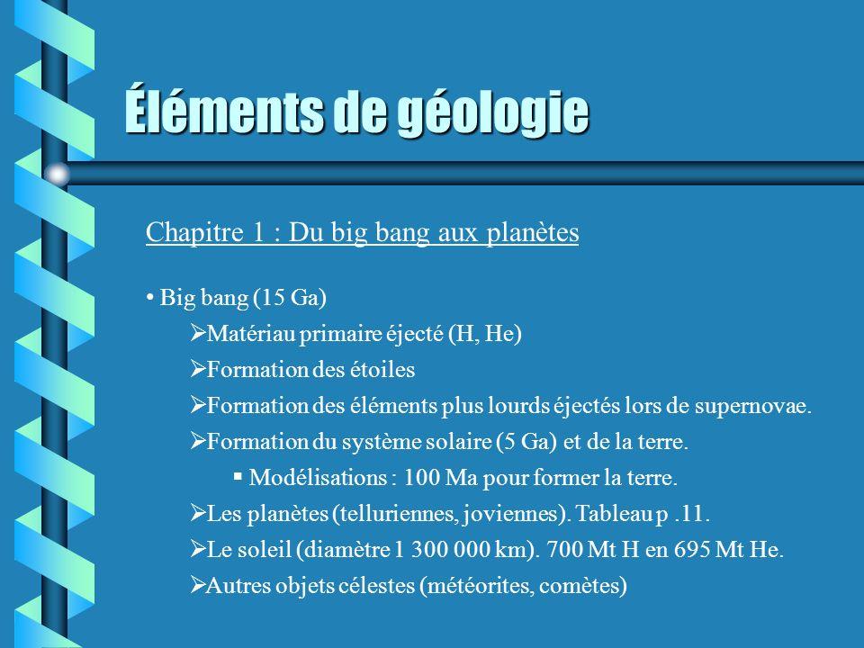 Éléments de géologie Chapitre 1 : Du big bang aux planètes