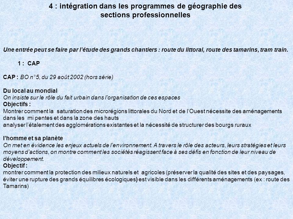 4 : intégration dans les programmes de géographie des