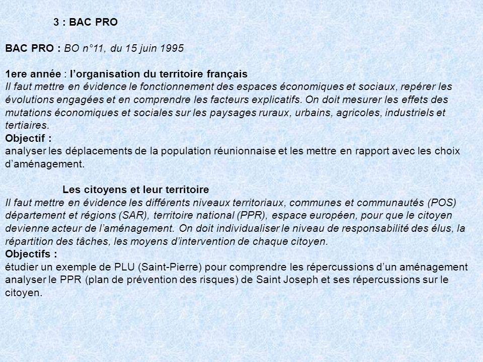 3 : BAC PRO BAC PRO : BO n°11, du 15 juin 1995. 1ere année : l'organisation du territoire français.