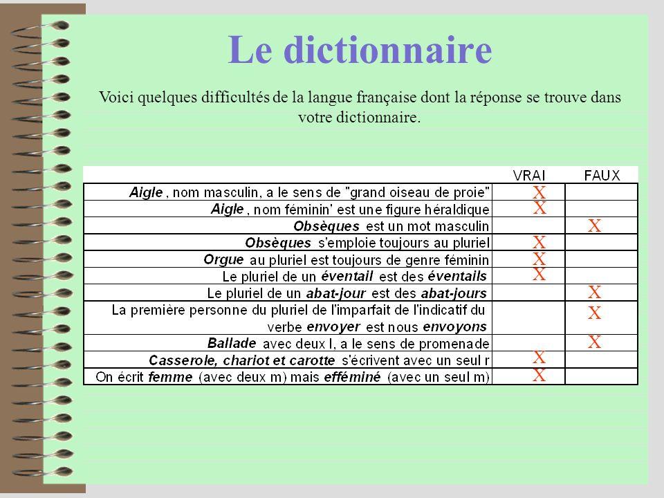 Le dictionnaire X X X X X X X X X X X