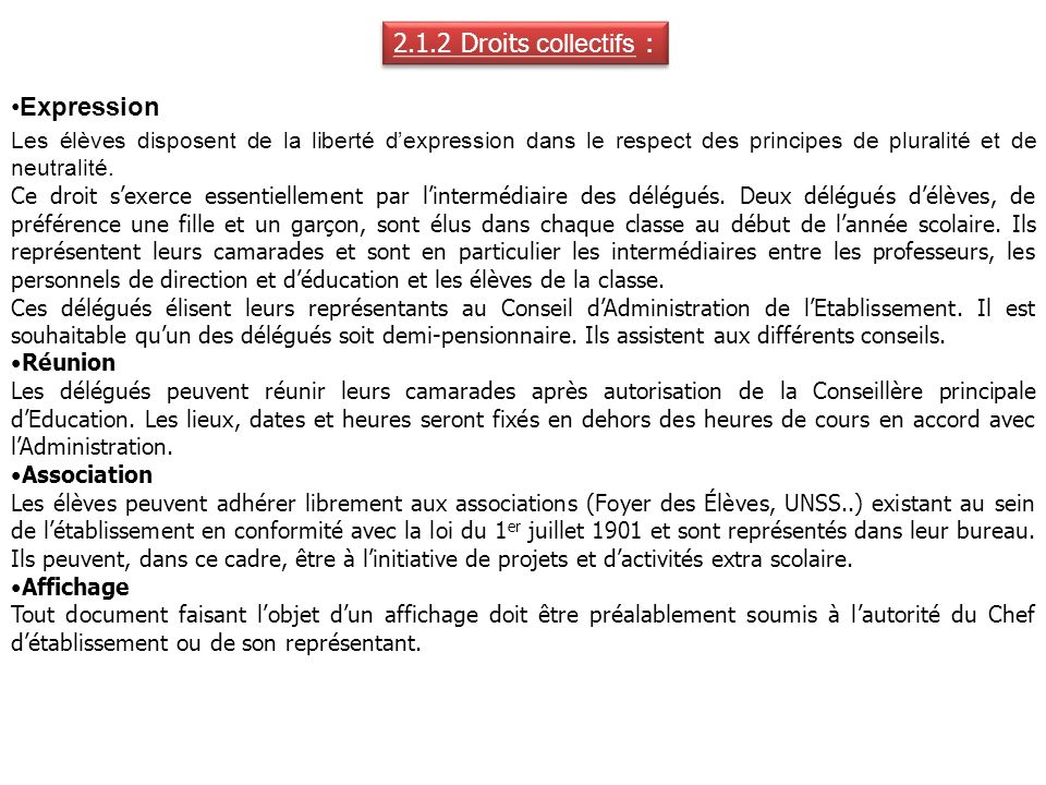 2.1.2 Droits collectifs : Expression