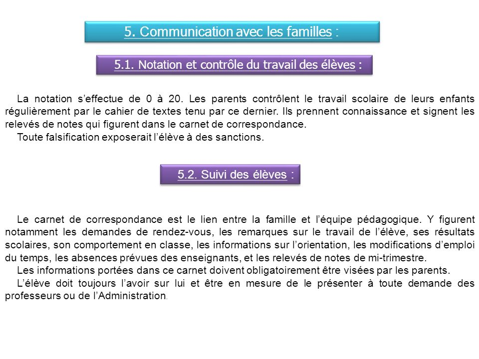 5. Communication avec les familles :