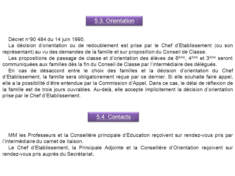 5.3. Orientation : 5.4. Contacts : Décret n°90 484 du 14 juin 1990.