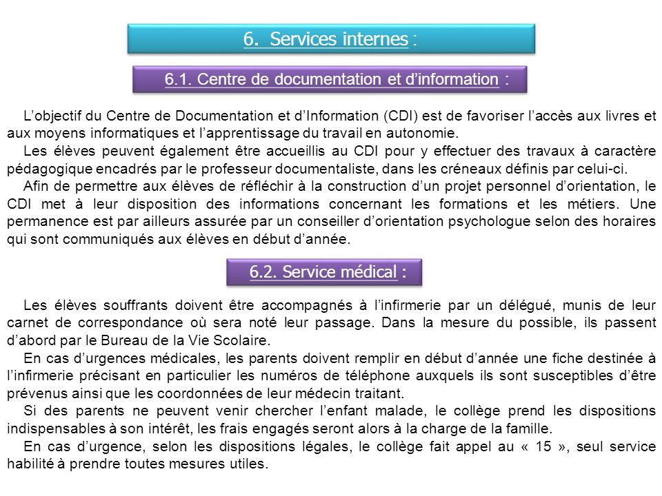 6.1. Centre de documentation et d'information :