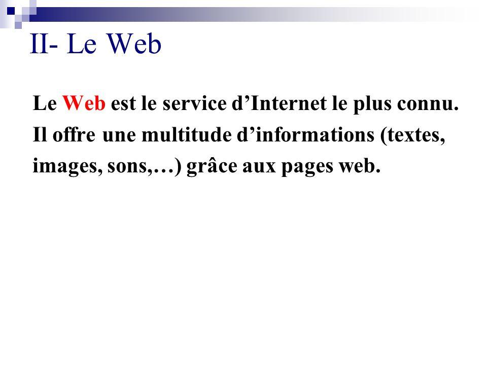 II- Le Web Le Web est le service d'Internet le plus connu.