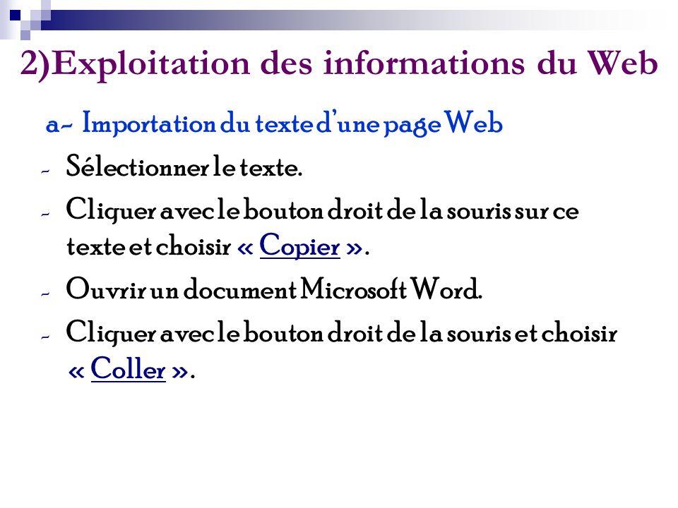 2)Exploitation des informations du Web