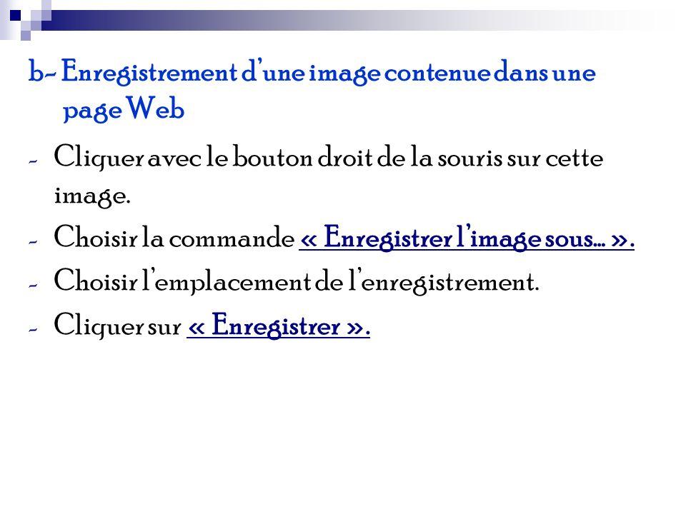 b- Enregistrement d'une image contenue dans une page Web